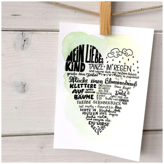 """Letter Lovers maryluskleinekunst: Anleitung für eine Herzkarte """"Mein liebes Kind"""" - fertige Herzkarte"""