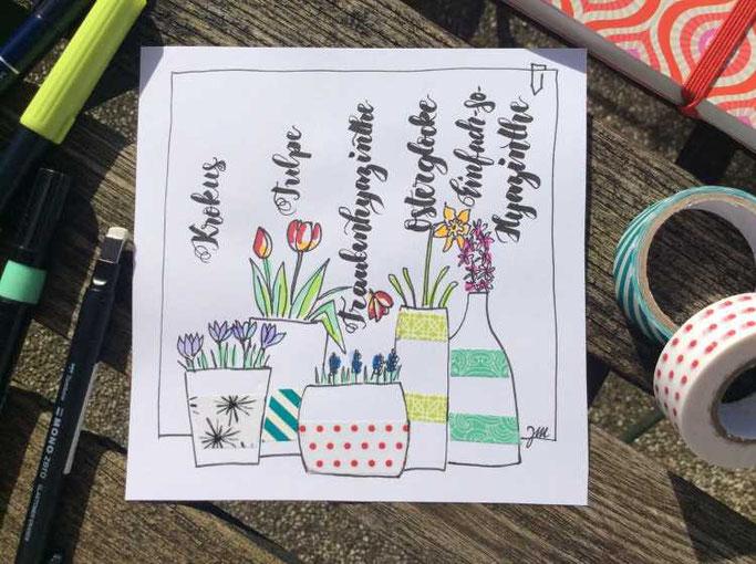 Letter Lovers zwischen2stuehlen: Handlettering verschiedene Blumen