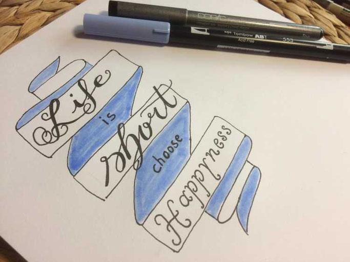 Letter Lovers aponi72: Handlettering Anleitung Banner zeichnen Schritt 4