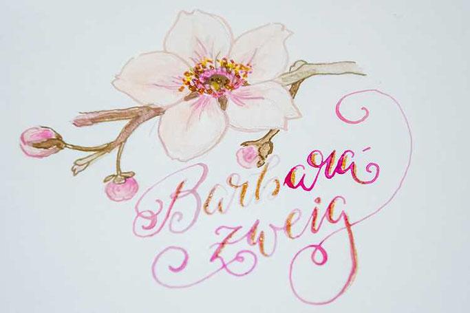 Letter Lovers sunnys_fotos: Anleitung Lettern und Zeichnen mit Wasserfarben und Feder - Barbarazweig