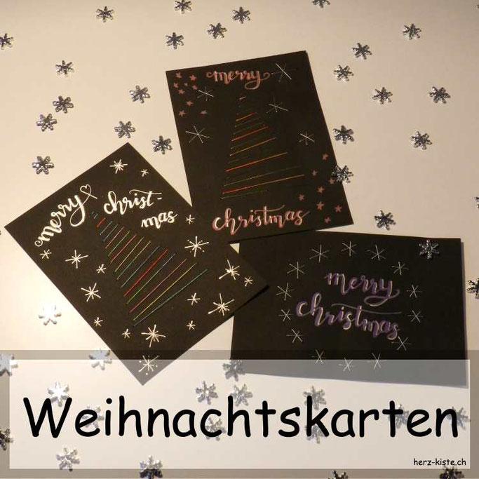 Weihnachtskarten Sticken Herz Kiste