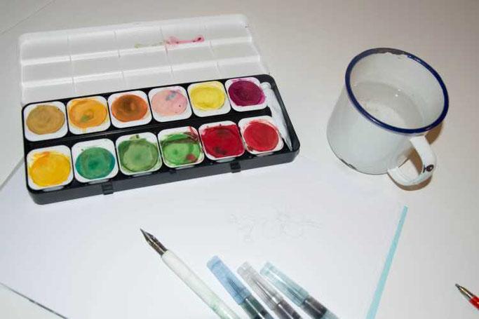 Letter Lovers sunnys_fotos: Anleitung Lettern und Zeichnen mit Feder und Wasserfarben - Material