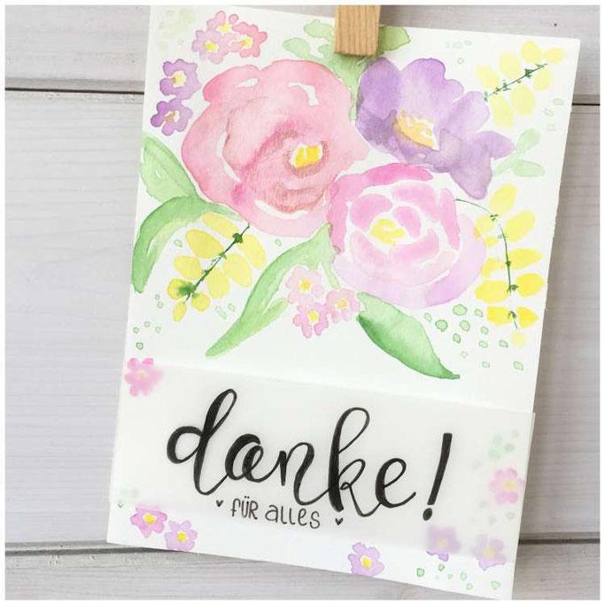 Handlettering - Letter Lovers maryluskleinekunst: Danke Lettering mit Aquarellblumen