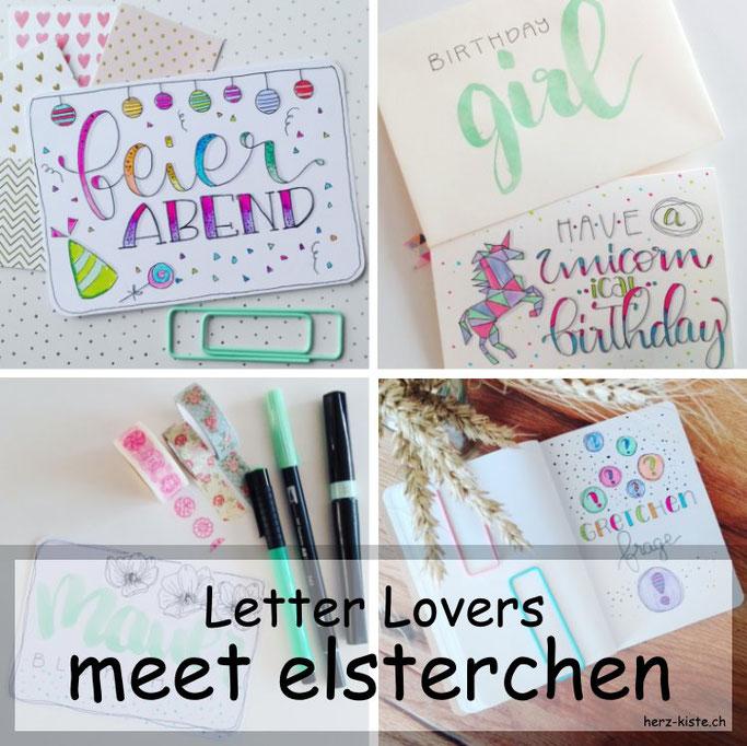 Letter Lovers - elsterchen zu Gast mit einer Anleitung für eine Geburtstagskarte mit Wimpelkette