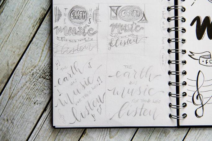 Letter Lovers photo.aloha: Anleitung Zitate lettern mit Mini-Skizzen - Schritt 4: Thumbnails zeichnen