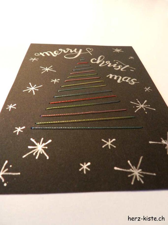 Weihnachtskarte Tannenbaum sticken