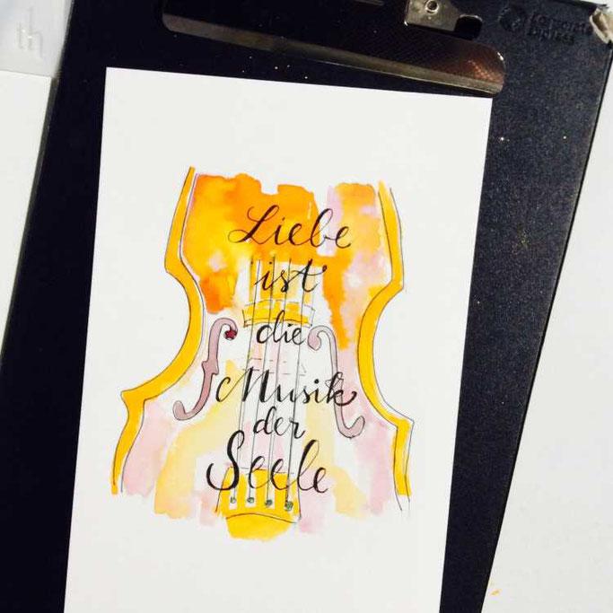 Letter Lovers tradonde: Handlettering Spruch Liebe ist die Musik der Seele