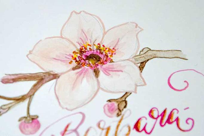 Letter Lovers sunnys_fotos: Detailaufnahme Anleitung Zeichnen und Lettern mit Feder und Wasserfarben