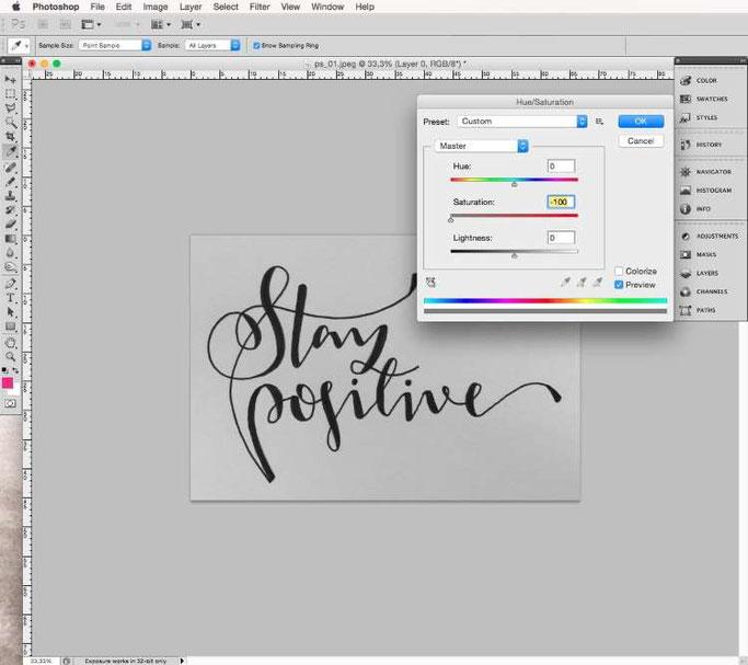 Lettering digitalisieren mit Photoshop - Sättigung verringern