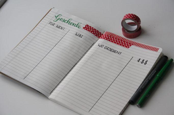 DIY Weihnachtsplanner mit Lettering - Geschenke
