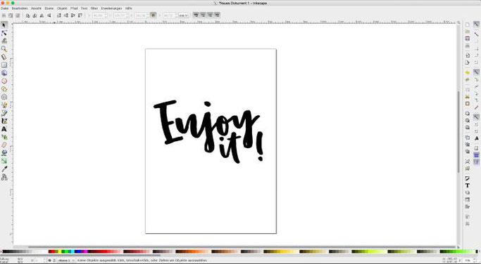 Tutorial: Wie du dein Lettering vektorisieren kannst - einfache Anleitung mit Inkscape (Schritt: Durchblicke weiss machen)