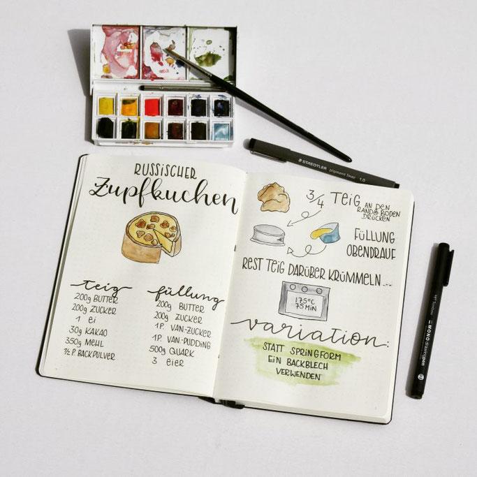 Lettering Rezept für einen russischen Zupfkuchen mit Doodles (Letter Lovers frl.stucki)