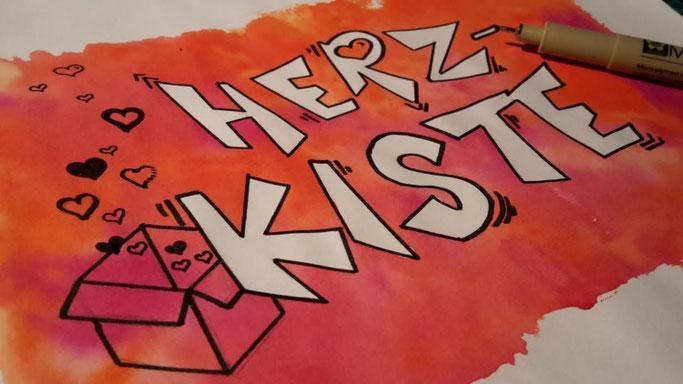 Letter Lovers _conny_k_: Handlettering Herz-Kiste mit Rubelkrepp