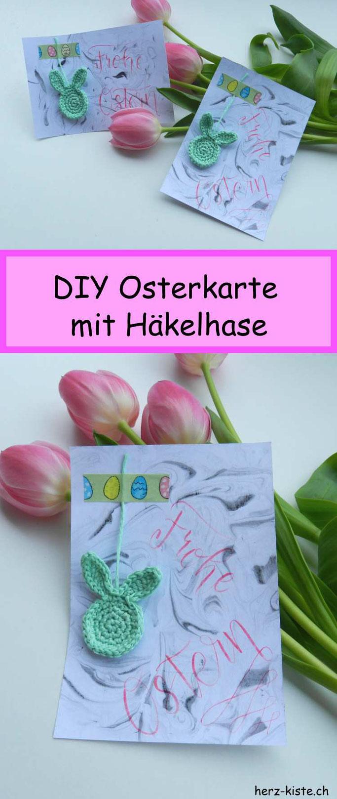 DIY Bastelidee zu Ostern: eine Osterkarte mit Marmorierhintergrund, Handlettering und einem Häkelhasen selber machen. So einfach geht Freude verschenken!