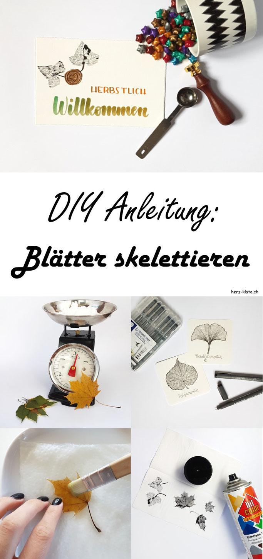 DIY Anleitung: Wie du ganz einfach Blätter skelettieren kannst. Lies in diesem Handlettering Interview Tipps und Tricks und lerne, wie du mit skelettierten Blättern eine tolle Karte selber machen kannst.