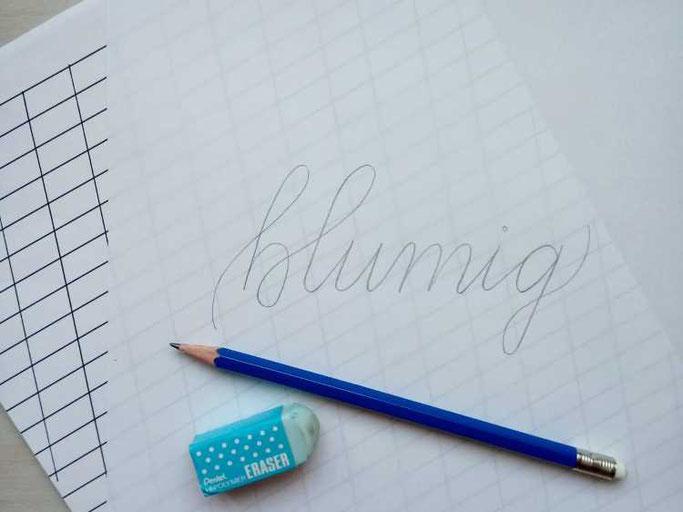 Letter Lovers frauleinausten: Anleitung Faux Calligraphy mit Blumen - Skizze