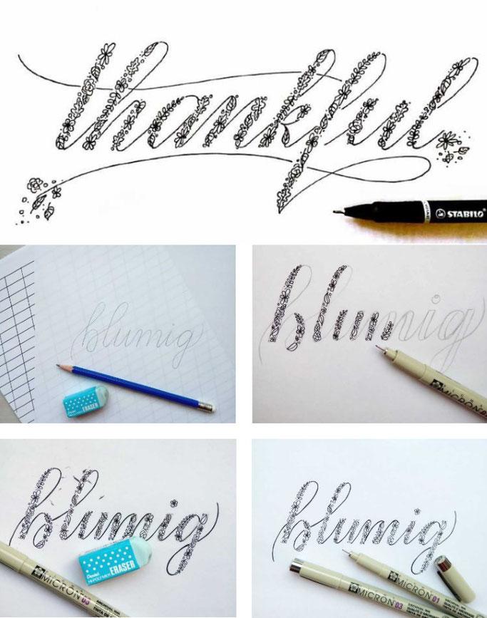 Anleitung Handlettering: Wie du Faux Calligraphy mit Blumen letterst