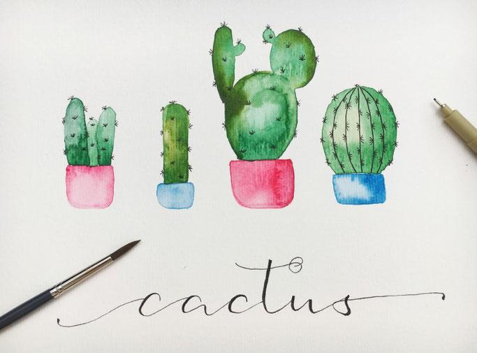 Lettering Anleitung: Wie du selber ganz einfach Watercolor Kakteen mit einem Schriftzug gestalten kannst (Letter Lovers herzimbauch)
