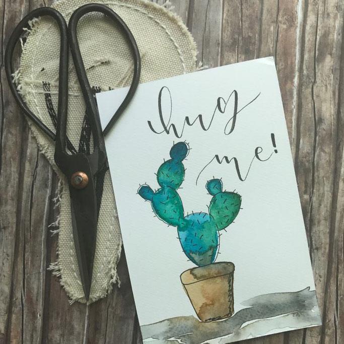 Handlettering quote mit Kaktus: hug me - Letter Lovers mel_lettering