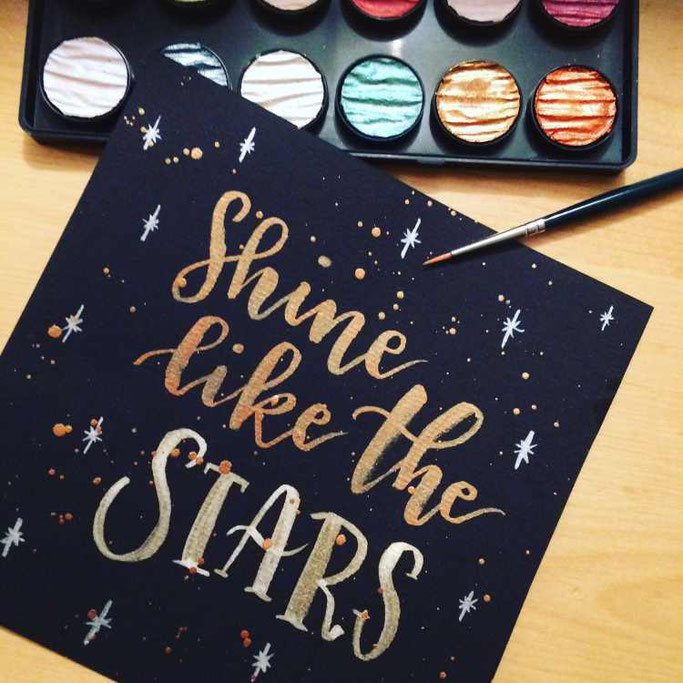 Letter Lovers tiniletters: Handlettering Shine like the stars
