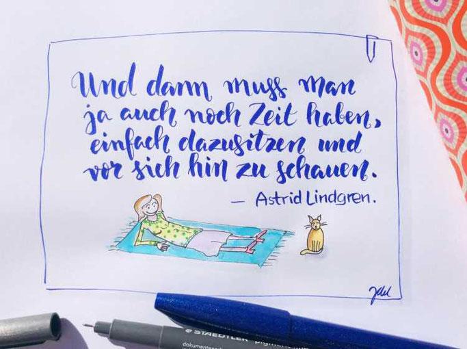 Letter Lovers zwischen2stuehlen: Handlettering Zitat Astrid Lindgren