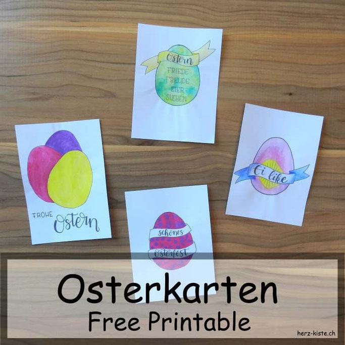 Osterkarten mit Handlettering: Free Printable als Geschenk für euch