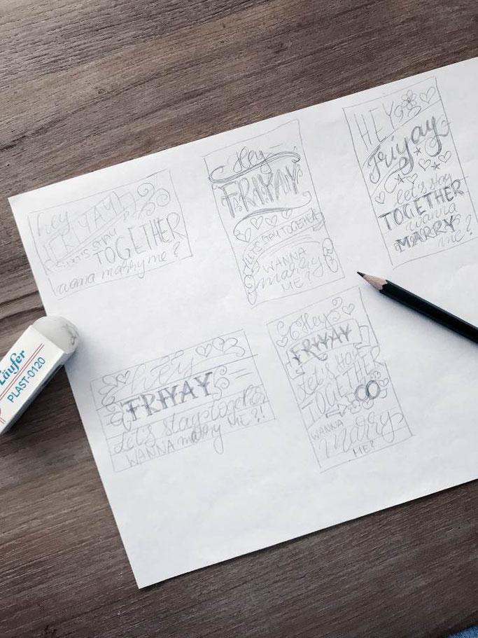 Letter Lovers wildhippiecom Anleitung für ein Lettering Layout: Schritt 3 - verschiedene Skizzen anfertigen
