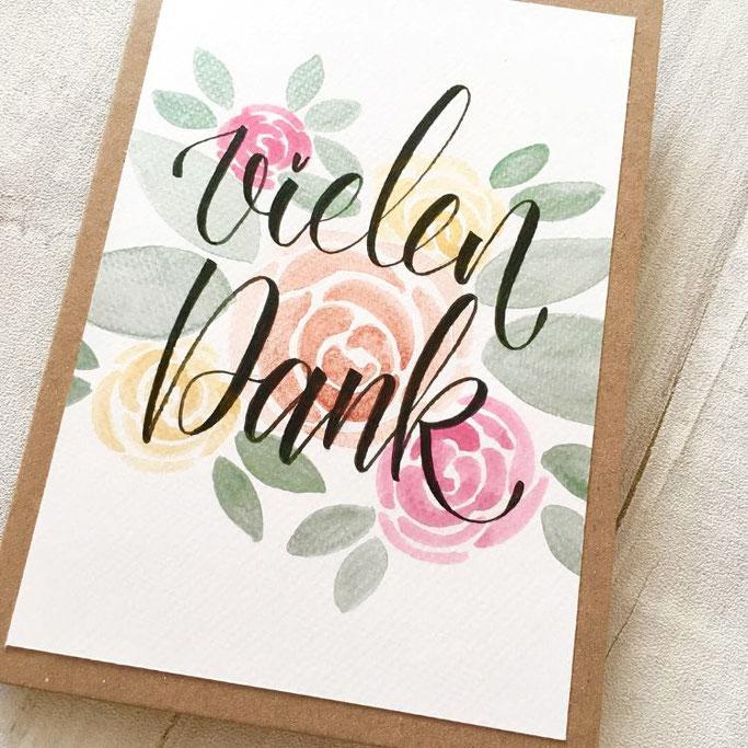 Lettering Karte mit Aquarell Blumen - vielen Dank (Letter Lovers cornlandart)