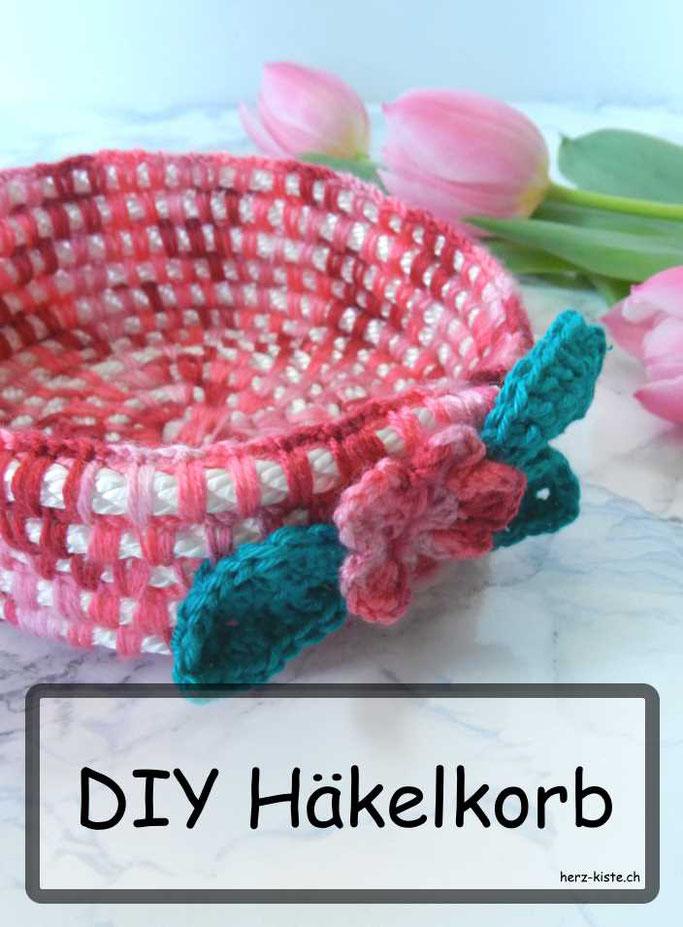 DIY Tutorial für einen Häkelkorb mit Wolle und Seil - eine einfache Dekorationsidee zum Aufbewahren: nicht nur zu Ostern