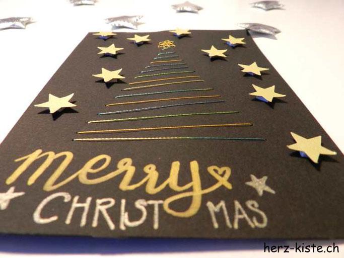 Weihnachtsbaum sticken mit Sternen verzieren