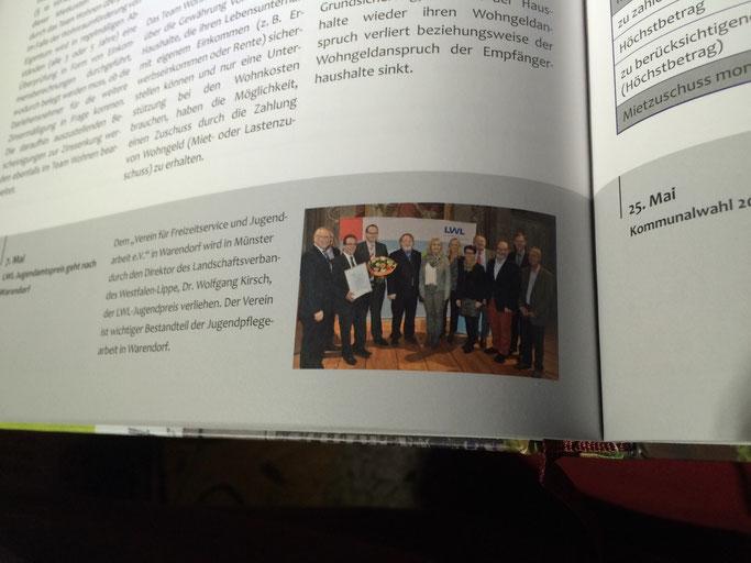 Auch in der Chronik der Stadt Warendorf hat der VFJ e. V. mit der Verleihung des LWL-Jugendpreises 2014 Erwähnung gefunden!