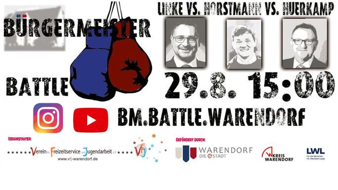 Klick auf das o. a. Banner verlinkt direkt zum YouTube-Stream des Bürgermeister-Battles vom 29.08.2020 - jederzeit nochmal anzusehen!
