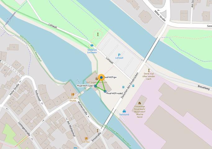 Hier sieht man die 3 miteinander gemeshten Freifunk-Knoten im HoT Jugendzentrum (per Klick auf das Bild gelangt man zur Warendorfer Freifunk-Karte mit allen Freifunk-Knoten)