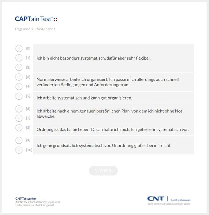 Fragen zur Selbsteinschätzung; CAPTain®::Subjektiv, der Selbsteinschätzungsfragebogen kann optional durchgeführt werden; die Ergebnisse werden denen des CAPTain Test® gegenübergestellt; Führungstest, Vertriebstest, Potenzialanalyse, Persönlichkeitstest