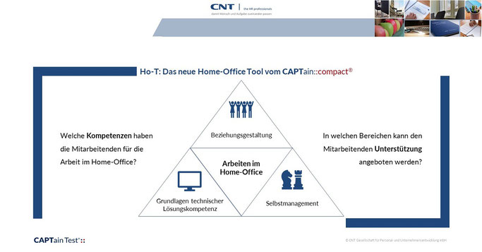 Die neue CAPTain Test®-Auswertung für die Arbeit im Home-Office – der CAPTain::compact® ho-T > Sie können verstehen, in welchen Bereichen Mitarbeitende und Führungskräfte im Unternehmen noch Unterstützung für die Arbeit im Home-Office brauchen können.