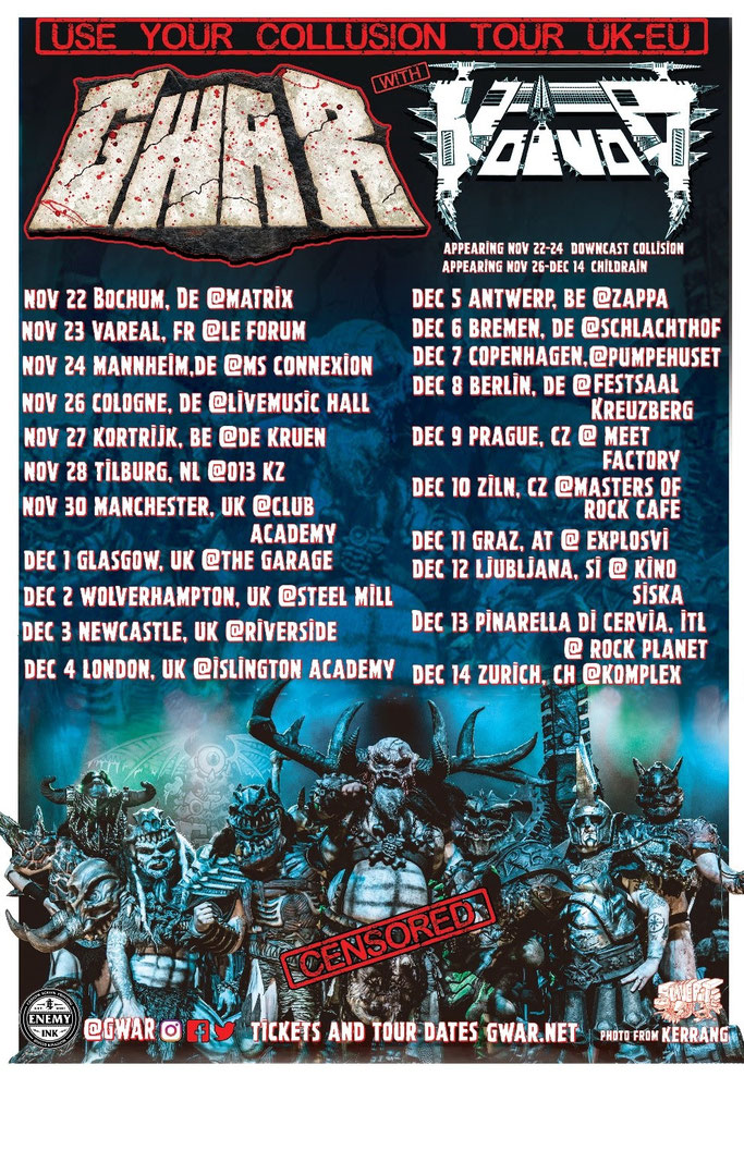 VOIVOD – Returning to tour Europe with Gwar in November/December, news, rockers and other animals