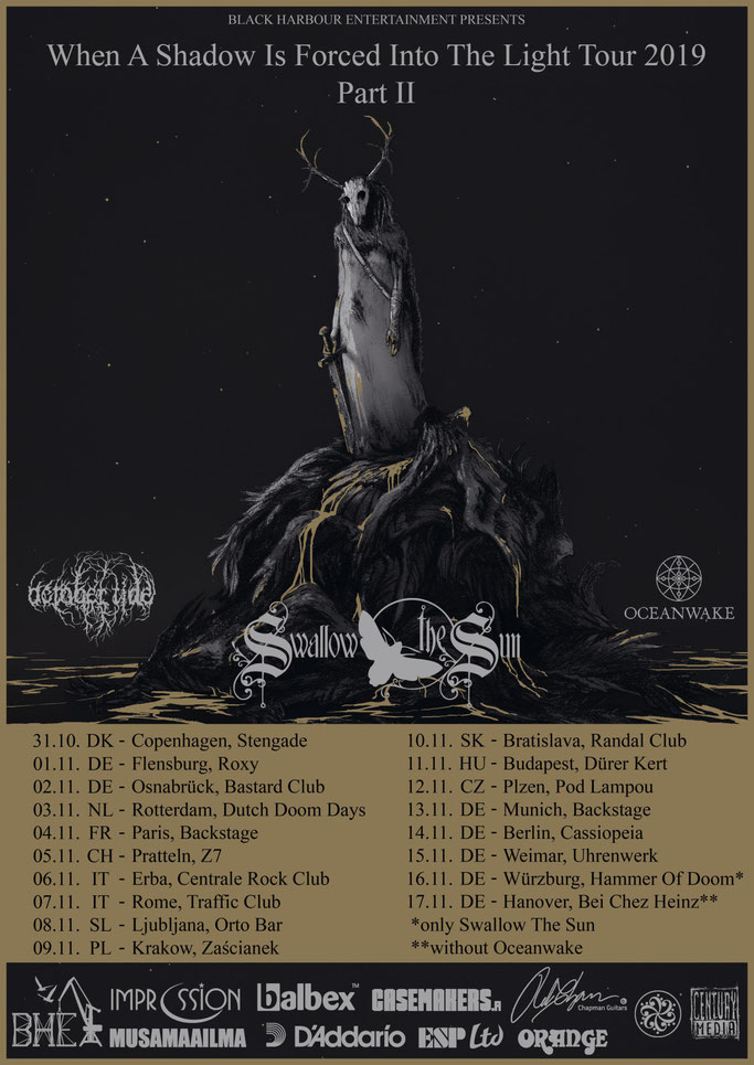 SWALLOW THE SUN, When A Shadow Is Forced Into The Light, Century Media Records, melancholy, death metal, Doom metal,  Oceanwake, October Tide, Eurpean Tour,Rockers And Other Animals, Rock News, HEAVY METAL, Rock Magazine, Rock Webzine, rock news, sleaze r