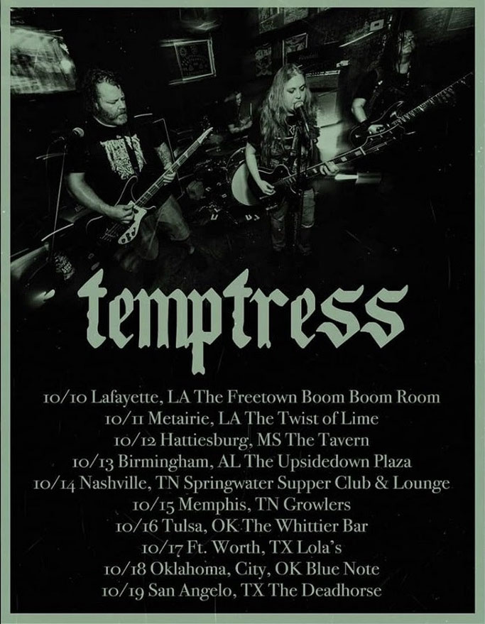 Dallas' TEMPTRESS Takes Off On Upcoming Tour Dates & Set For Recording Debut Full-Length Album, Temptress Fall Tour 2019:, rockers and other animals, news