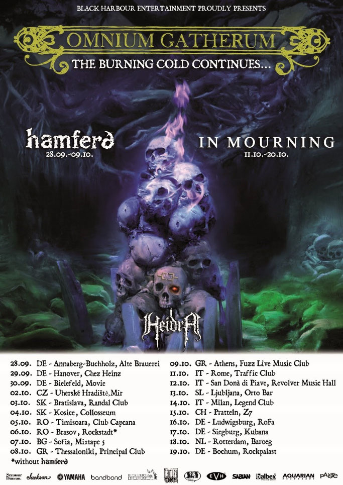 OMNIUM GATHERUM, European headline tour, fall 2019, Melodic death metal, The Burning Cold Continues,Century Media Records, News Rockers And Other Animals, Rock News, HEAVY METAL, Rock Magazine, Rock Webzine, rock news, sleaze rock, glam rock, hair metal