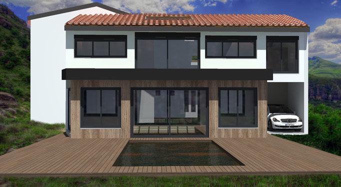Extension de maison moderne en toit plat