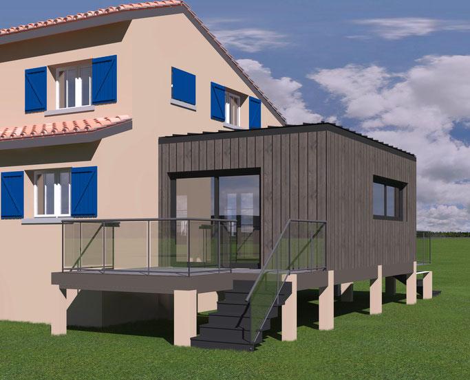 Extension d'un bureau avec terrasse