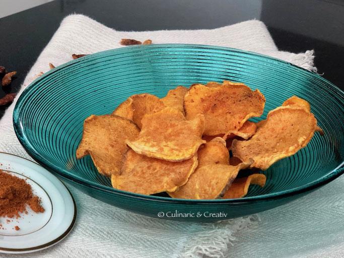 Süsskartoffel-Chips aus dem Ofen