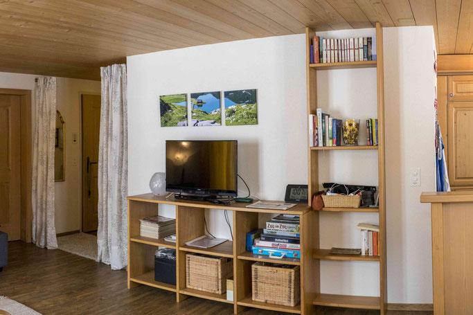 Wohnzimmer Fernseher Samsung Ferienwohnung Melchsee-Frutt www.ferienwohnung-melchsee-frutt.ch Obwalden Schweiz