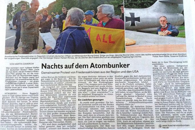 """27. Juli 2017, Nürnberger, Erlanger und Fürther Nachrichten, auf Seite 5 unter """"Politik"""""""