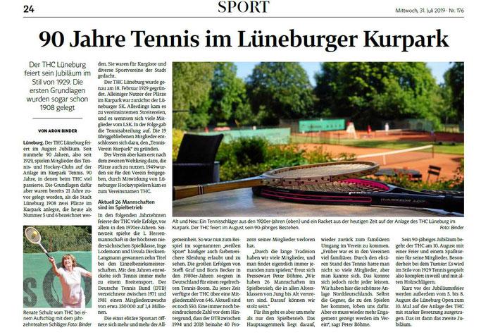 THC Lüneburg 90 Jahre Tennis im Kurpark  LZ vom 31.07.2019