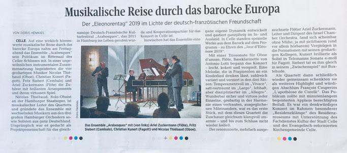 Konzert 12.04.2019 Schloss Celle / Cellesche Zeitung 13.04.2019
