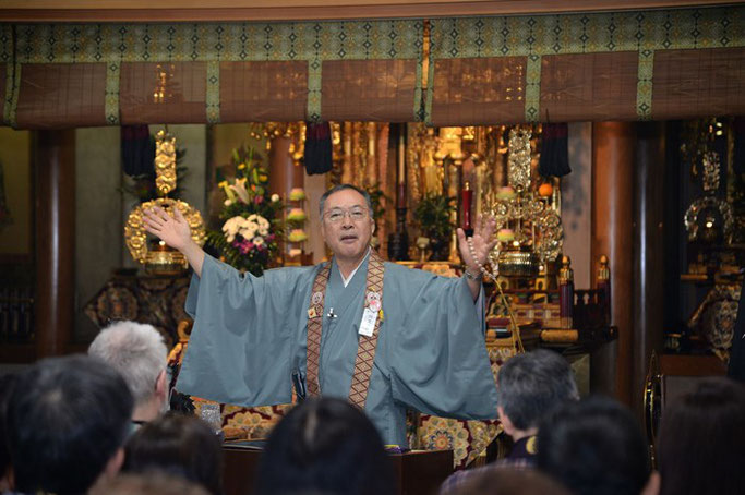 千葉・松戸の浄土真宗 天真寺にて赤川浄友が法話を行った。