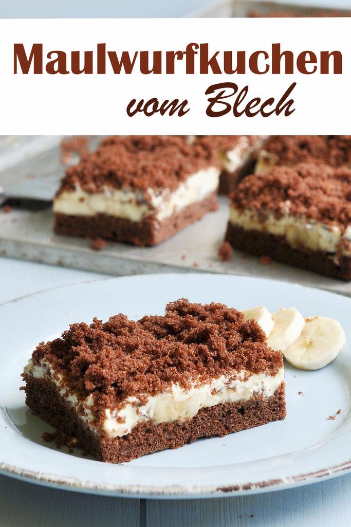 Maulwurfkuchen vom Blech mit Banane, klassisch, mit Vanillecreme, vegan möglich, Thermomix