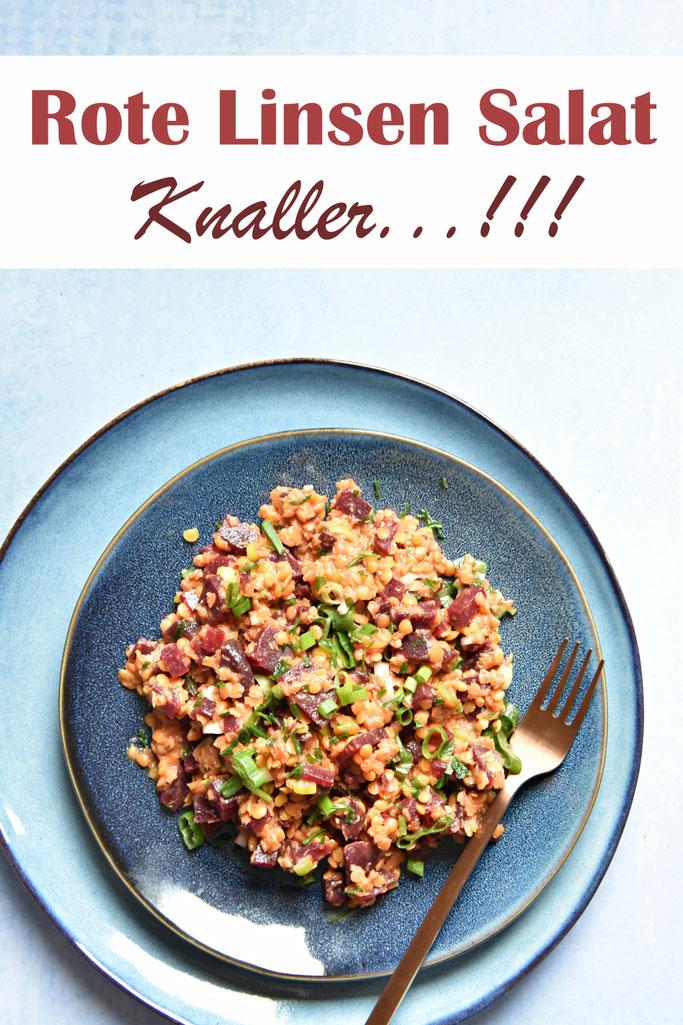 Rote Linsen Salat mit Roter Bete, Frühlingszwiebeln und einem Senf-Ahornsirup-Dressing, Knaller, Sattmacher-Salat oder Beilage, Thermomix, vegan, vegetarisch