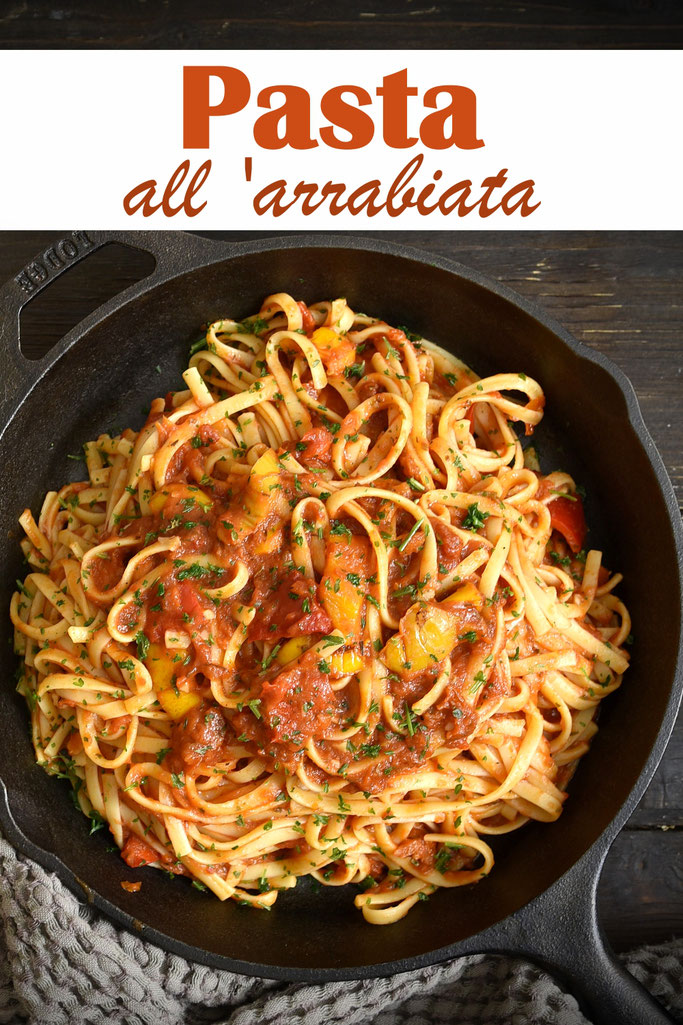 Pasta all arrabiata mit Paprika, Tomaten - scharfe Tomatensoße, vegan, vegetarisch, Thermomix